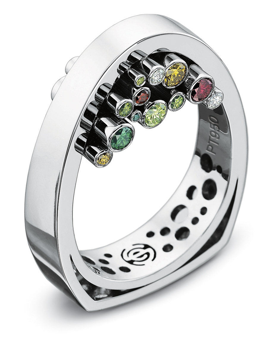 Platinum and colored stone ring-015