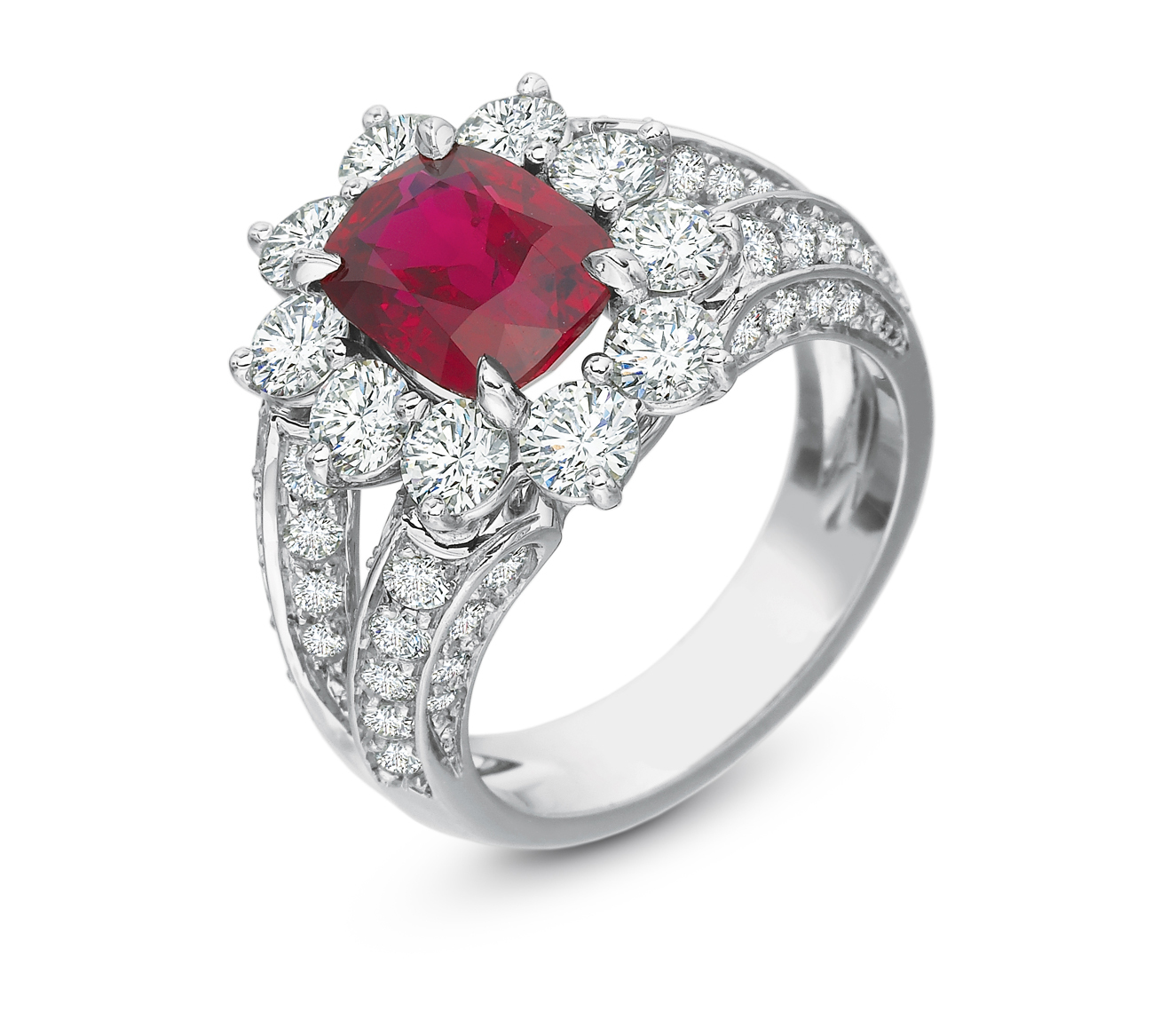 Cushion Ruby Ring_Split Shank_478