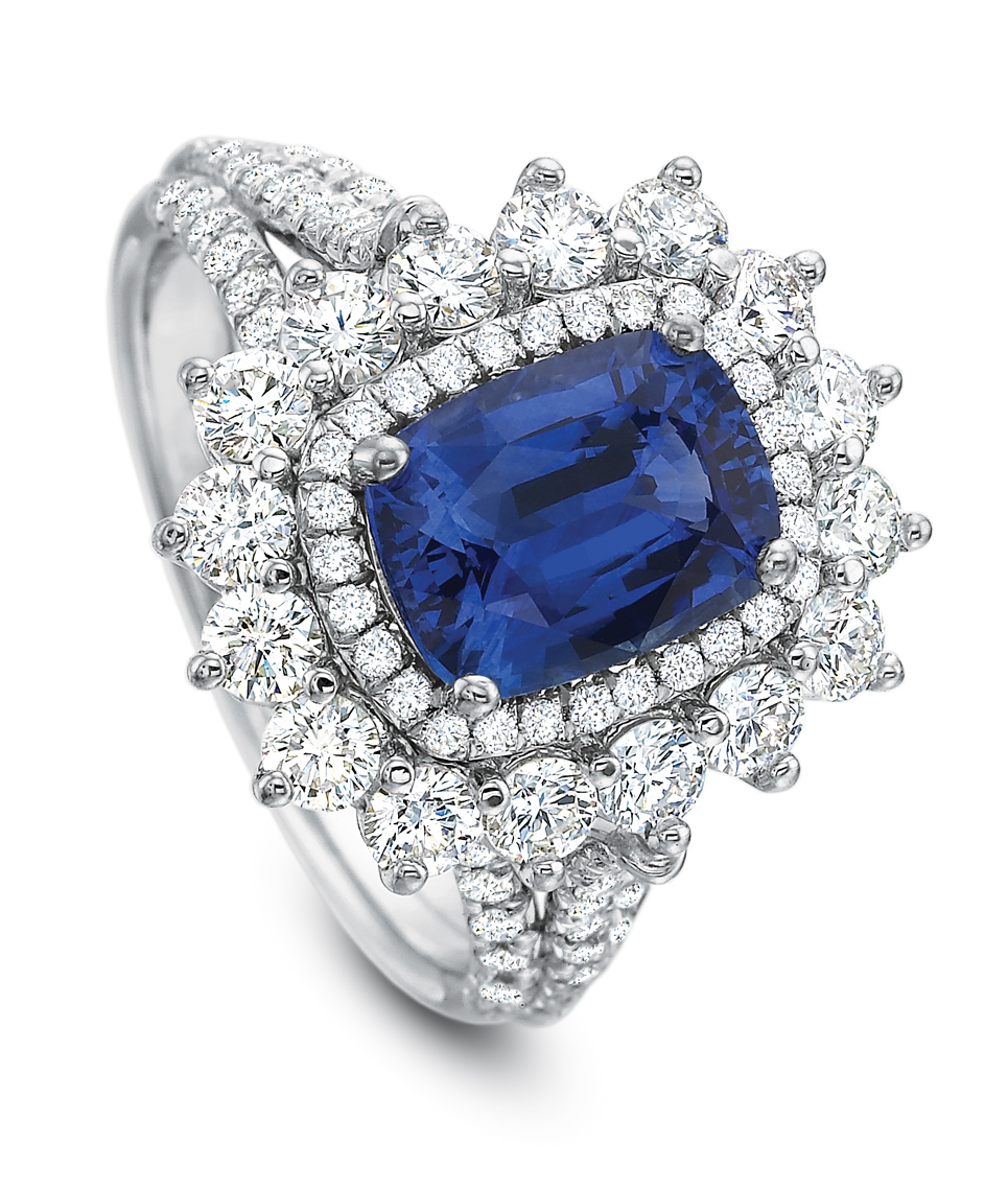 Cushion cut sapphire and diamond halo split shank platinum ring